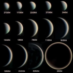 Phases of Venus and evolution of its apparent diameter